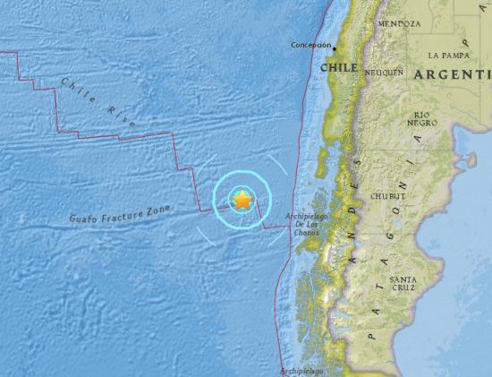 智利附近海域发生里氏6.3级地震震源深度10公里