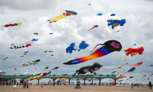 """空中多彩""""动物世界""""英国海滩举行风筝节(图)"""