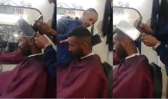 神人!理发师不走寻常路用菜刀锤子给顾客剃头