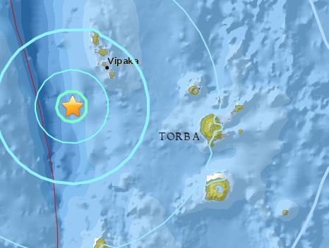 瓦努阿图附近海域5.8级地震震源深度10公里