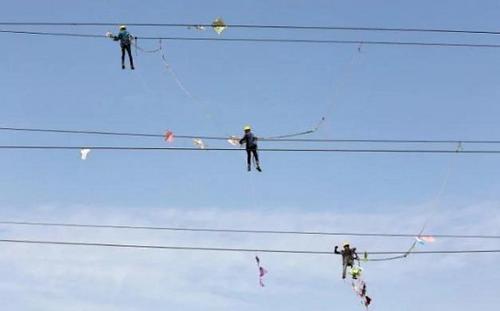 印度艾哈迈达巴德风筝节:风筝挂电线忙坏电工(图)