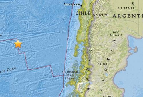 智利海隆以西海域5.3级地震震源深度10公里