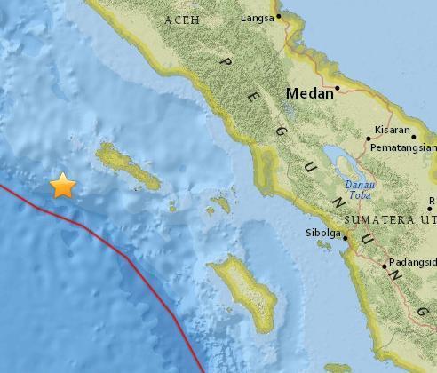 印尼苏门答腊岛西部海域5级地震震源深25.5公里