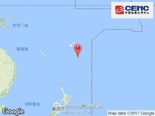 斐济群岛以南发生6.9级地震震源深度400千米