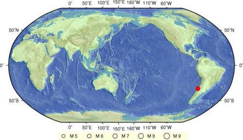 智利中部沿岸近海发生6.9级地震震源深度10公里