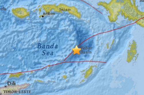 印尼南部海域发生5.0级地震震源深度143公里