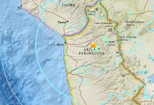 智利北部地区发生6.3级地震震源深度82.4公里