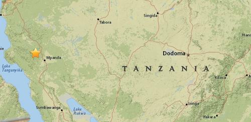坦桑尼亚姆潘达市发生5.2级地震震源深度10公里