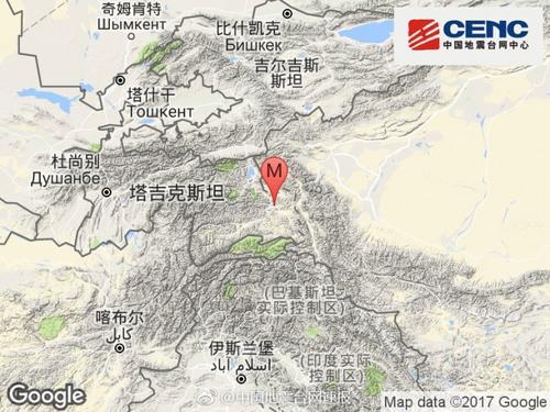 塔吉克斯坦发生3.0级地震震源深度170千米