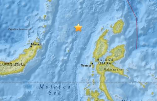 印尼北部海域发生5.1级地震震源深度30.5公里