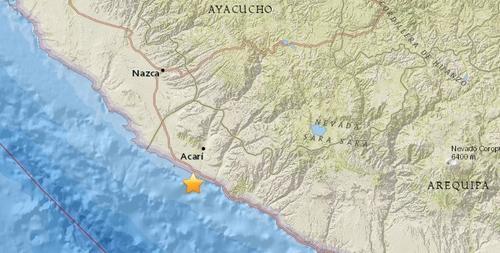 秘鲁阿卡里地区发生7.3级地震震源深度10公里
