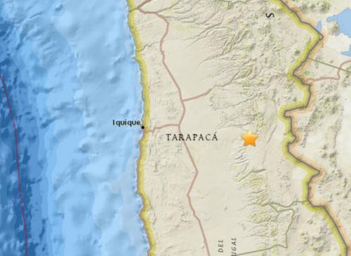 智利北部地区有5.4级地震震源深度103.1公里