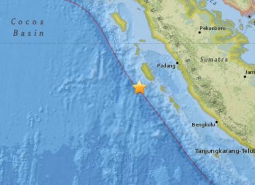 印尼西部海域发生5.8级地震震源深度10公里