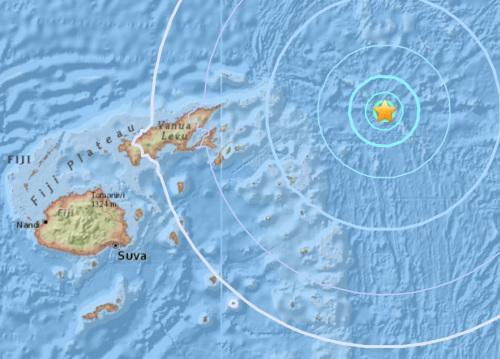 斐济东北部海域发生5.5级地震震源深度10公里