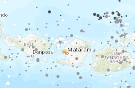 印尼马塔兰西北海域发生5.5级地震震源深度10公里