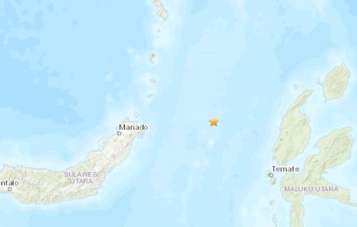 印尼北部海域发生5.0级地震。(图片来源:美国地质勘探局网站截图)