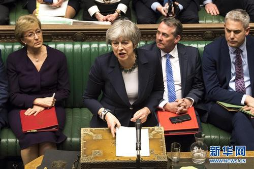 """英国议会下院投票反对""""无协议脱欧"""""""