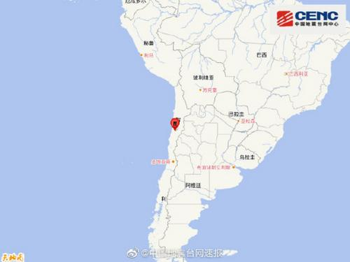 智利发生5.5级地震震源深度80千米