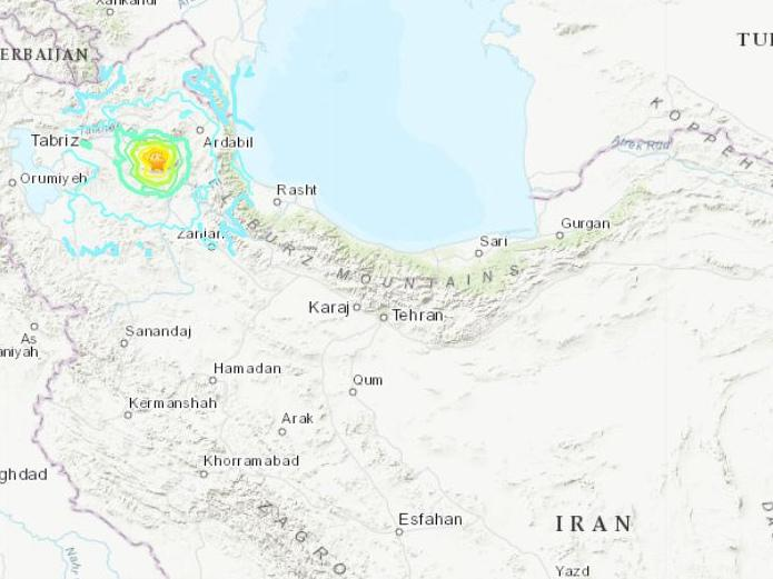 伊朗東阿塞拜疆省發生5.9級地震震源深度10公里