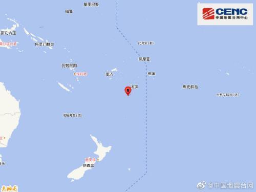 斐济群岛以南发生5.8级地震 震源深度130千米