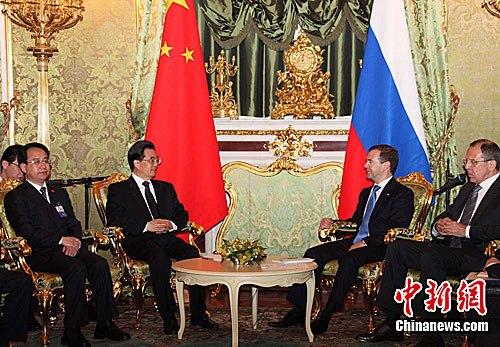 胡锦涛同梅德韦杰夫会谈规划中俄关系未来10年