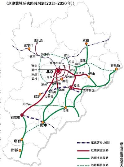 """京津冀将新建城际线23条形成""""四纵四横一环"""""""