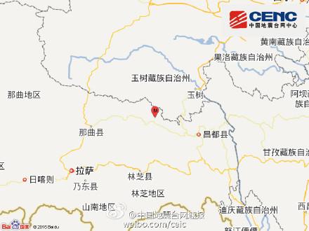 西藏昌都市丁青县发生4.1级地震震源深度5千米