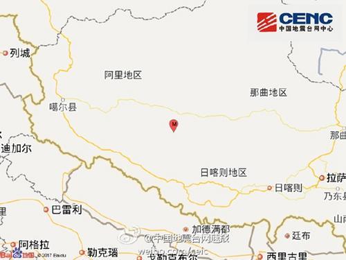 西藏阿里地区措勤县发生3.3级地震震源深度8千米