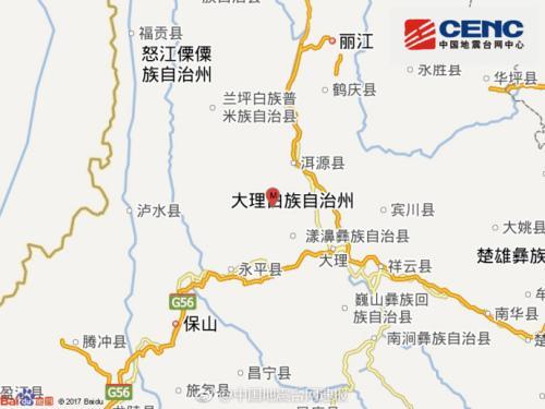 云南大理州漾濞县发生4.7级地震震源深度12千米