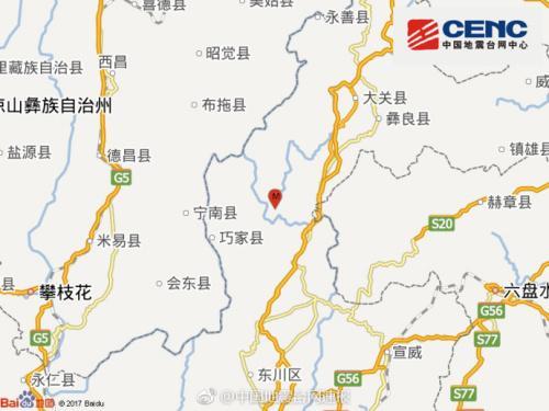 云南昭通市鲁甸县发生3.6级地震震源深度5千米
