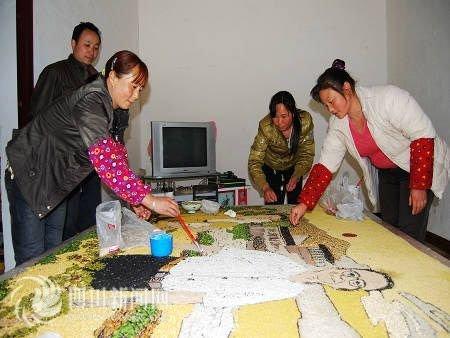 我爱中国五谷杂粮手工粘贴画风景