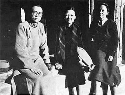 费慰梅(右一)与梁思成,林徽因夫妇图片