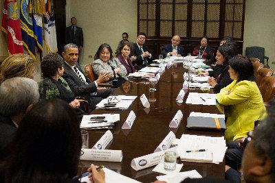 奥巴马与亚太裔领袖会谈为移民改革寻求支持(图)