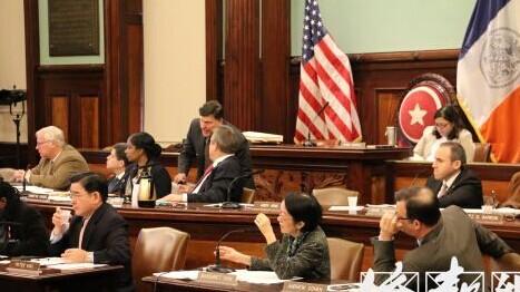 纽约举行特殊高中录取标准公听会华裔民众抗议