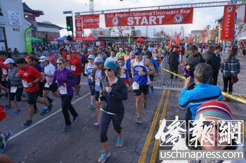 洛杉矶中国城举行羊年新春长跑逾万名选手参与