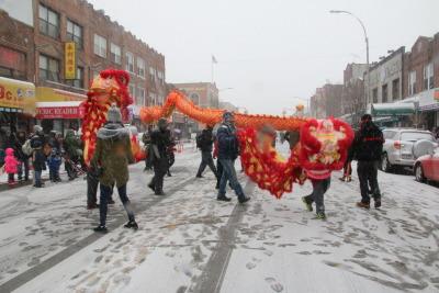 纽约布鲁克林班森贺举行首次春节游行尽显年味