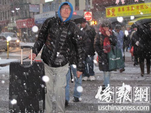 纽约再迎大雪天气严寒华裔商家生意惨淡提早打烊