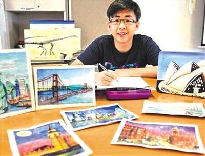 海外华裔青少年不畏病魔用画笔描绘对生活的热爱