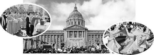 """3月27日,美国旧金山湾区侨界在旧金山市市政广场举办""""首届海外炎黄子孙拜祖大典""""。(刘艺霖摄"""