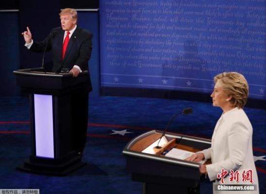 当地时间2016年10月19日,美国拉斯维加斯,2016美国总统大选第三场辩论也是最后一次辩论在美国内华达大学拉斯维加斯分校举行。
