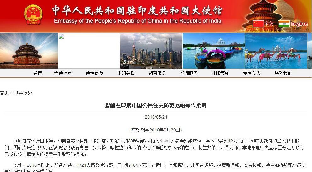 印度尼帕病毒已致12人死亡 中使馆吁中国公民警惕