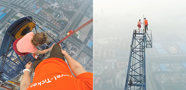 情侣攀爬中国第一高楼 站施工吊架顶端