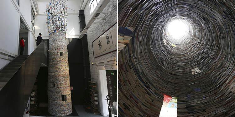 15吨大学教材堆成11米高书塔