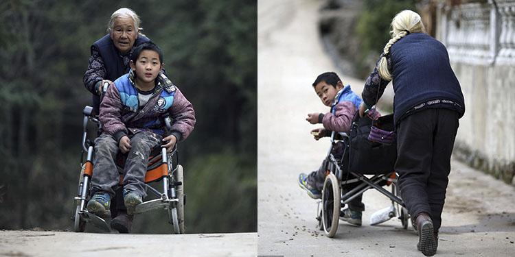 七旬老太送脑瘫孙子上学 每天走50里