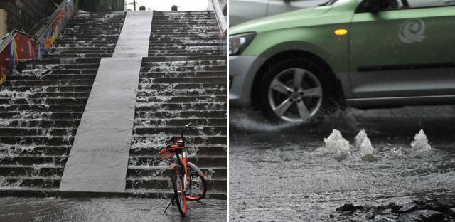 青岛遇短时强降雨 街道成河流
