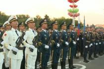中国人民解放军三军仪仗队亮相白俄罗斯阅兵彩排