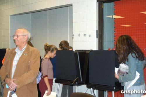 图:美国大选的电脑触摸式投票机