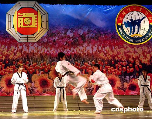 世界跆拳道协会总裁金正基向福建分会颁发证书