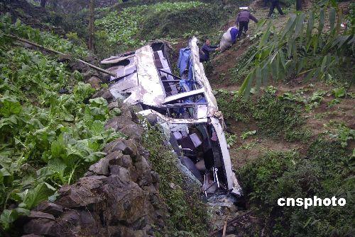 重庆涪陵一中巴冲下50米山崖 已7人死20多人