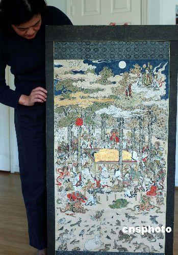一幅罕见的中国古代木刻佛像画《涅磐图》三月一